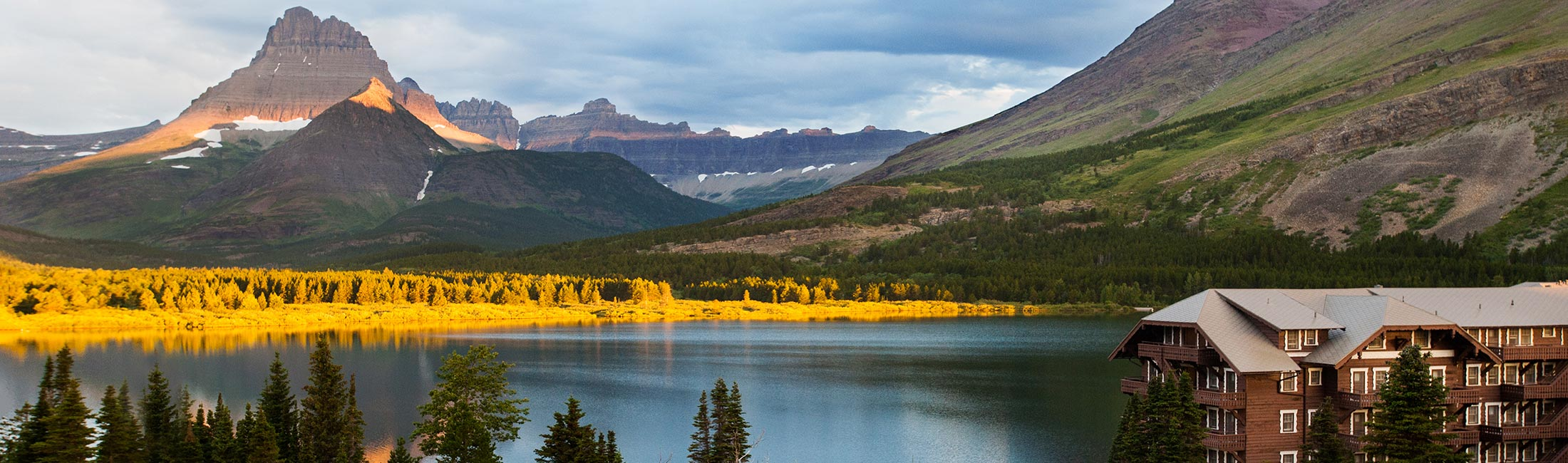 Many Glacier Hotel is surrounded by beautiful fall views in Glacier National Park, Montana.