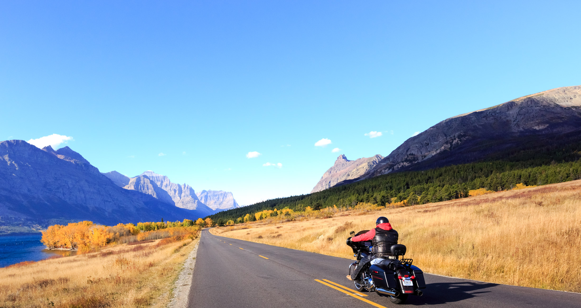 Travel Western Montana's scenic byways by car or motorcycle in the fall.