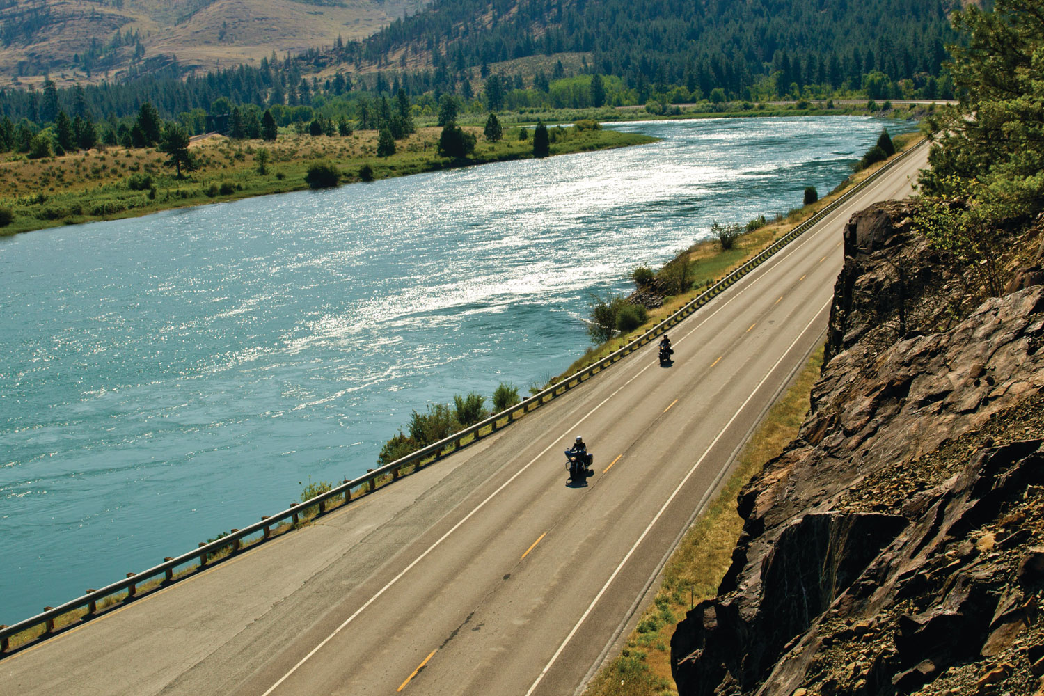 motorcycling along the blackfoot river