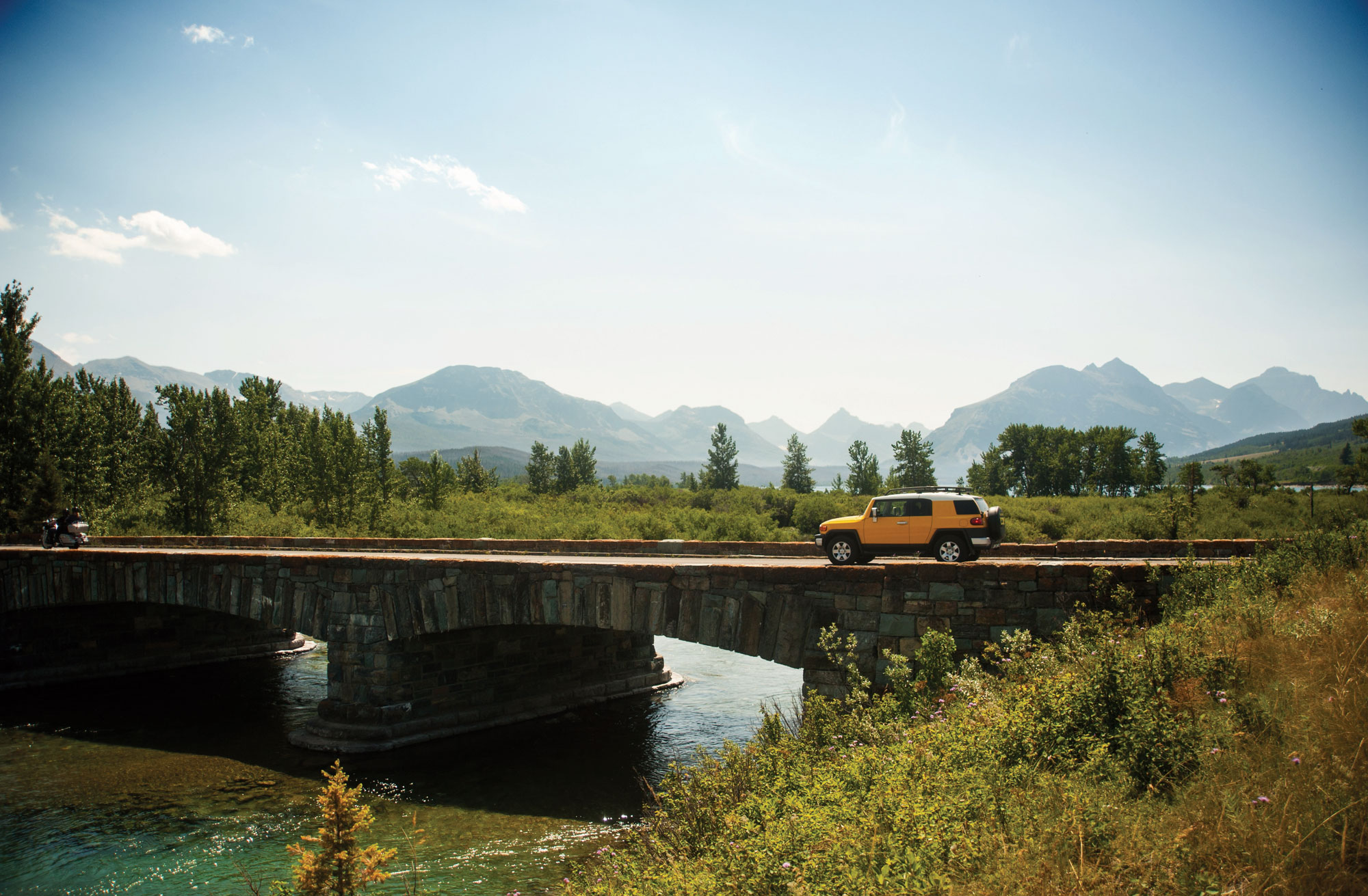 Scenic drives over the river in glacier national park