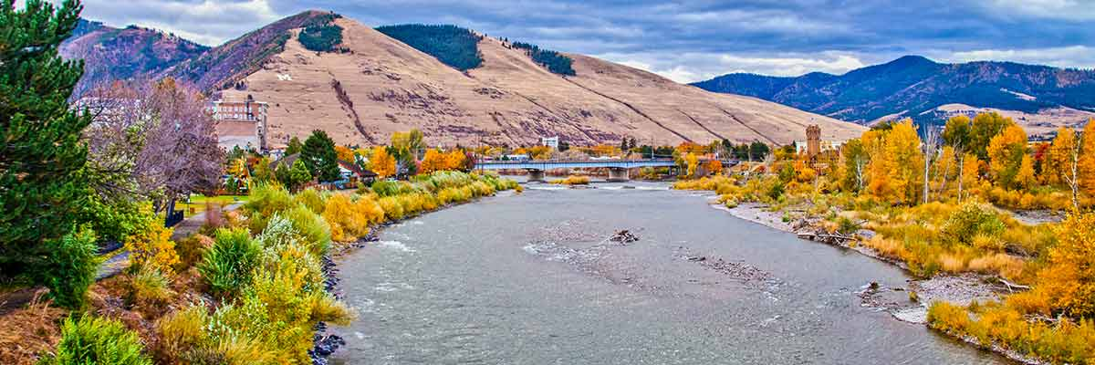 A moody fall day in Western Montana's Missoula over the Clark Fork River.