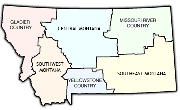 Montana is broken up into six different tourism region. Glacier Country covers the northwest corner of the state.